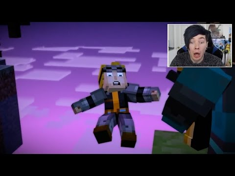 YouTubers React To Lukas Falling Over The Edge In Minecraft Story Mode