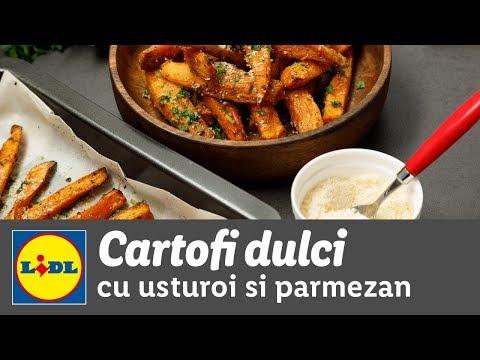 Cartofi dulci cu usturoi si parmezan la cuptor • reteta Bucataria Lidl