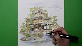 Смотреть Рисуем японскую пагоду  Небольшой скетч онлайн