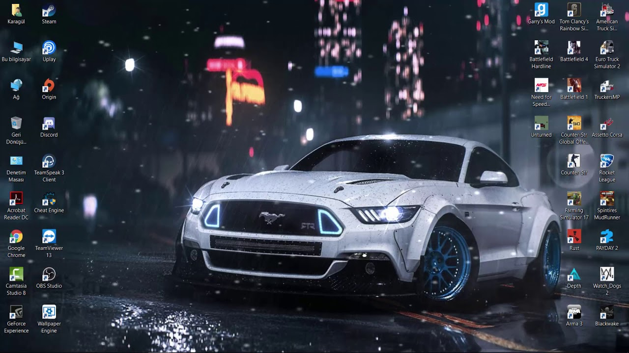 Wallpaper Engine Ford Mustang Gt Night Drive Rain Hd Live Wallpaper Free To Use