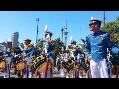 Indonesian Navy band performance at the Auckland waterfront.
