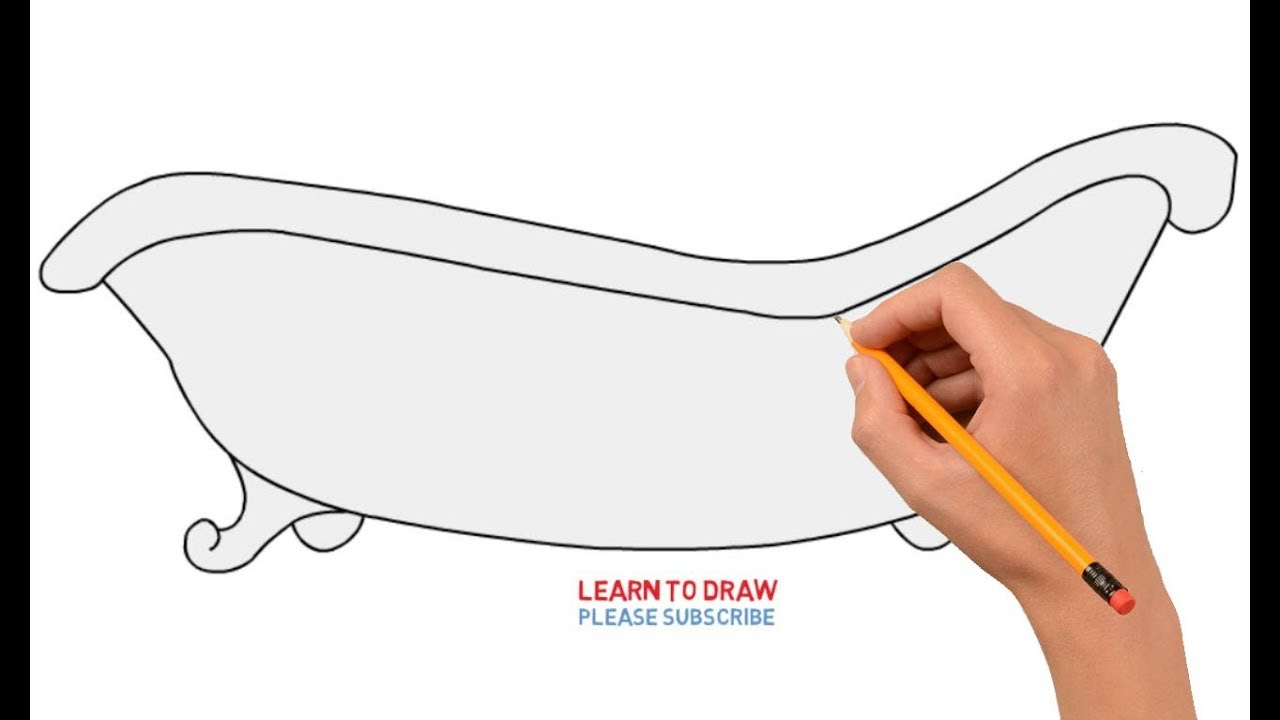 How To Draw A Bathtub Step By Step Easy Youtube