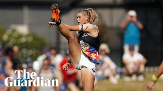 Tayla Harris hits out at social media 'animals' for 'sexual abuse' of AFLW star's photo thumbnail