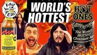 Irish People Try American Hot Ones By 'First We Feast' + WORLD's HOTTEST CHOCOLATE BAR Challenge!!