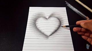 কঠিন মনেহলেও একেবারে সহজ। পুরোটা দেখুন  How to Draw a 3D Hole heart shape.  Easy 3D Drawing for kids