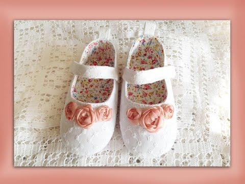 How to make silk ribbon embroidery roses for baby shoes
