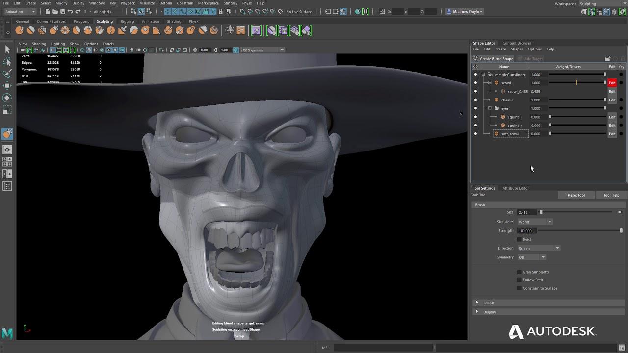 Autodesk Maya lt 2018 shape editor