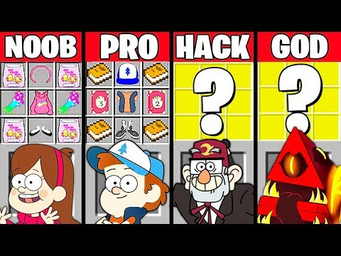 Minecraft Battle: GRAVITY FALLS CRAFTING CHALLENGE - NOOB vs PRO vs HACKER vs GOD ~ Animation