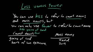 Less versus fewer | Frequently confused words | Usage | Grammar