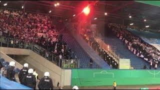 Hansa Fans präsentieren Hertha-Fahne (Hansa Rostock - Hertha BSC Berlin | DFB Pokal)