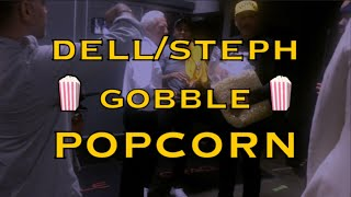 Dell and Steph Curry stuff their faces w/ popcorn as they say goodbye to Oracle security guards