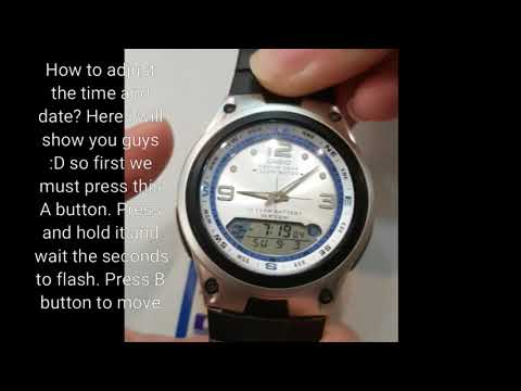 CASIO AW-82-7AVDF Watch How To Set The Time And Date.
