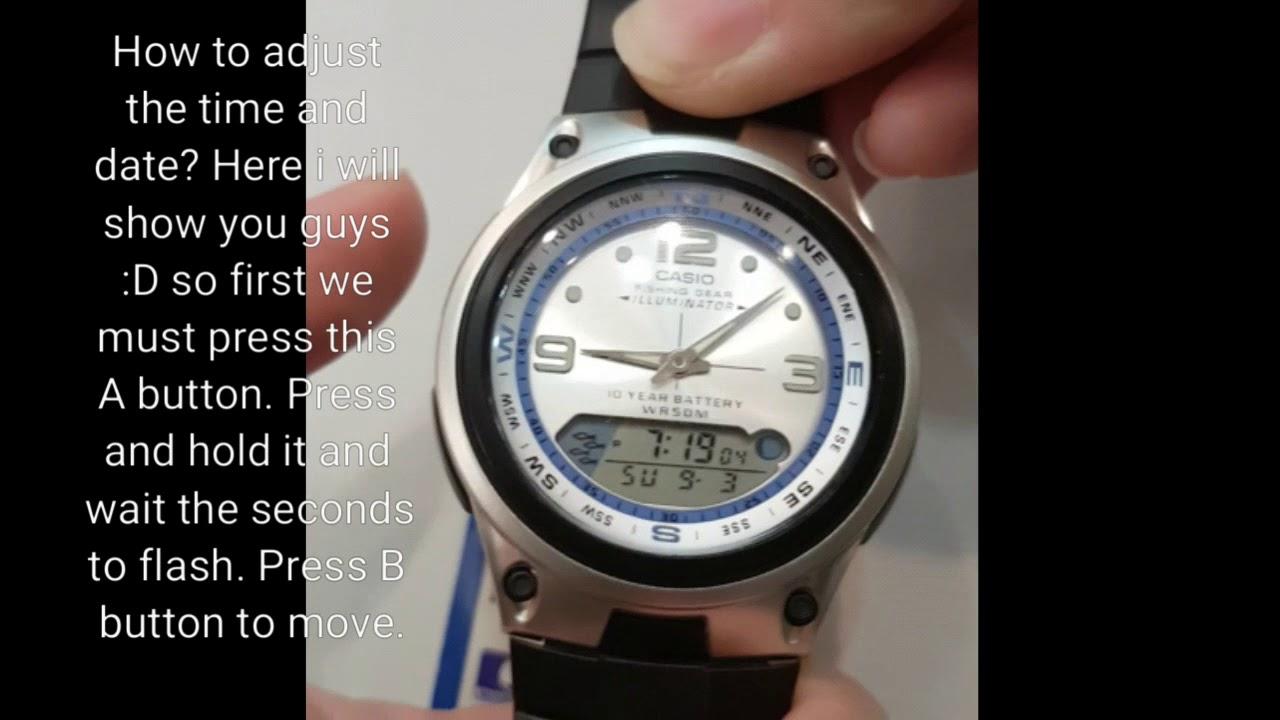 ef5285bab86 CASIO AW-82-7AVDF watch How to set the time and date. - YouTube