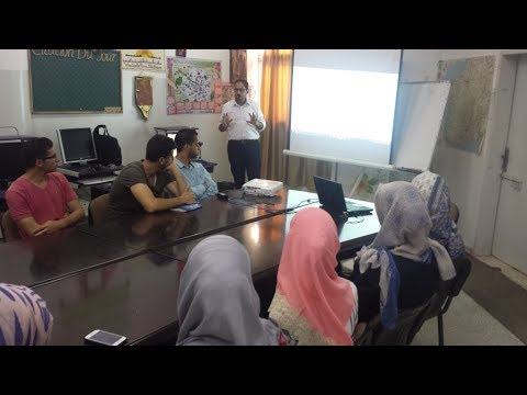 محاضرة م. أسامة النشاصي لطلبة قسم اللغة الفرنسية بجامعة الأقصى في غزة حول تقنيات الكمبيوتر