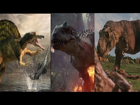 T-Rex vs Spinosaurus vs Indominus Rex (HD)