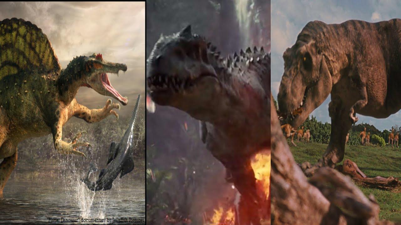 trex vs spinosaurus vs indominus rex hd youtube
