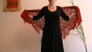 Вязание Шаль красная ракушки Вязание крючком
