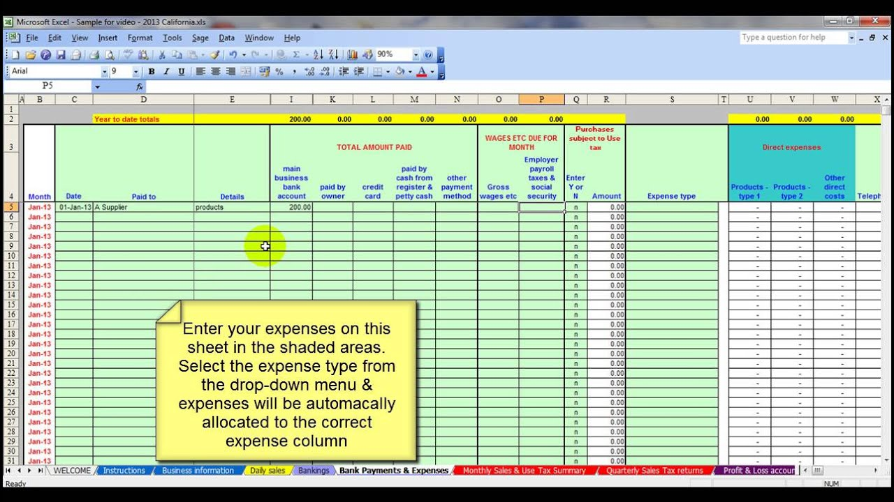 USA Salon Accounting Spreadsheet Template - YouTube