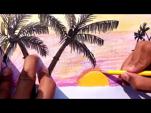 How to Draw Sunset Scenery of Beach step by step very easy ...