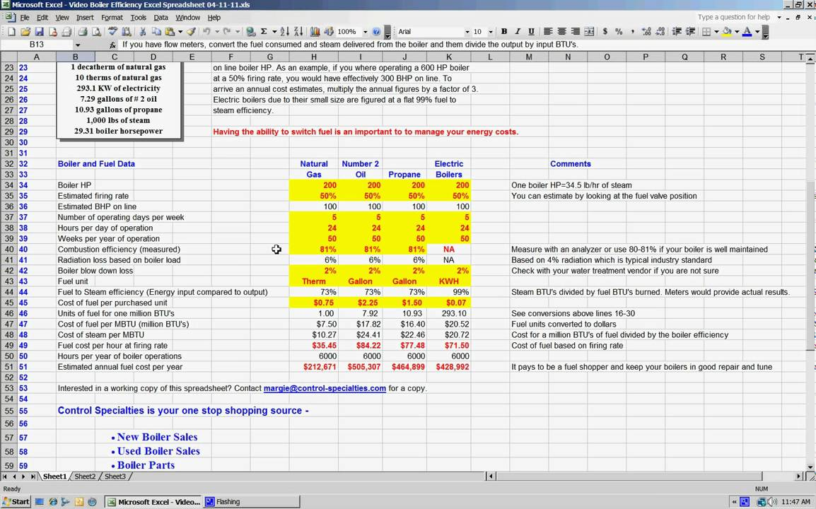 Boiler Efficiency Excel Spreedsheet 04 12 11 Avi Youtube