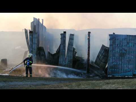 150409 Workshop fire south of Pincher Creek