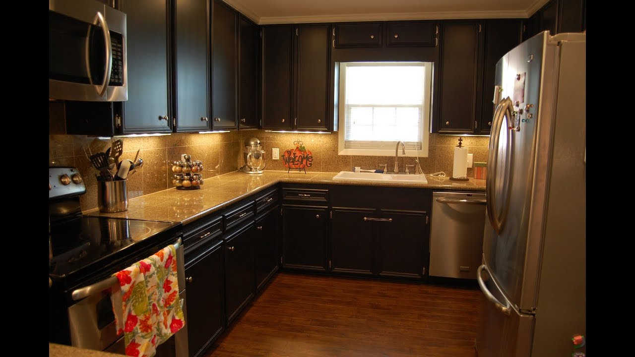 Painting Kitchen Cabinets | Painting Kitchen Cabinets a Dark Color ...