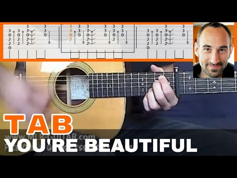"Guitar guitar cover with tabs : Guitar Cover / Tab ""You're Beautiful"" by MLR-Guitar - YouTube"