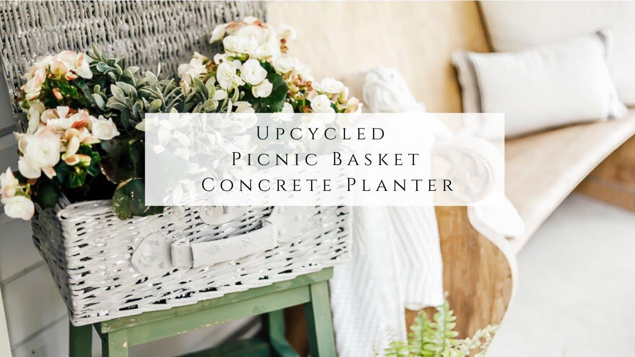 Upcycled Picnic Basket Concrete Planter