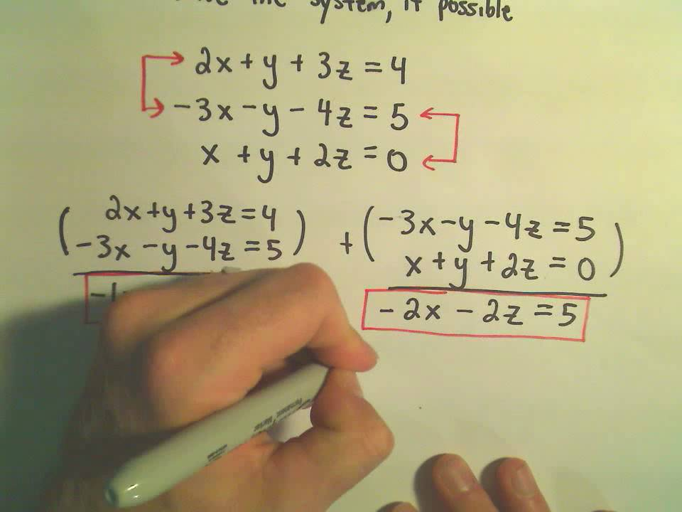 Systems of Linear Equations - Inconsistent Systems Using Elimination by  Addition - Example 2