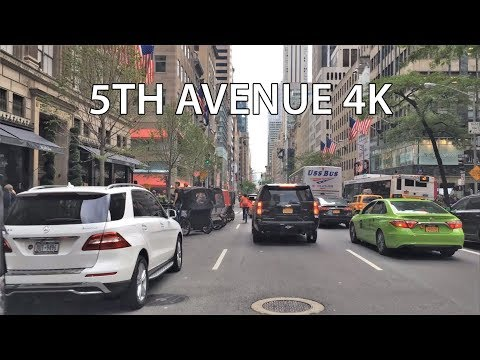 Driving Downtown - 5th Avenue - NYC USA 4K