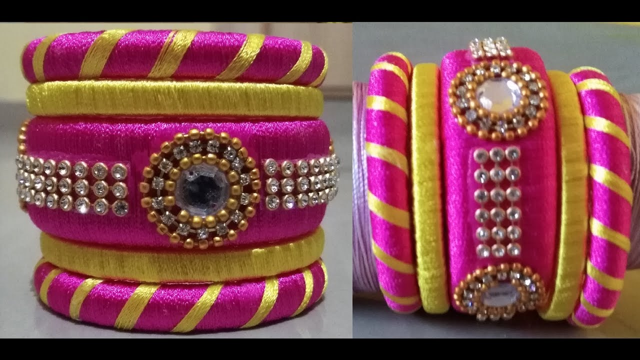 How to make designer silk thread bangles set - YouTube