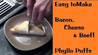 Bacon, Cheese & Beef Phyllo Puffs
