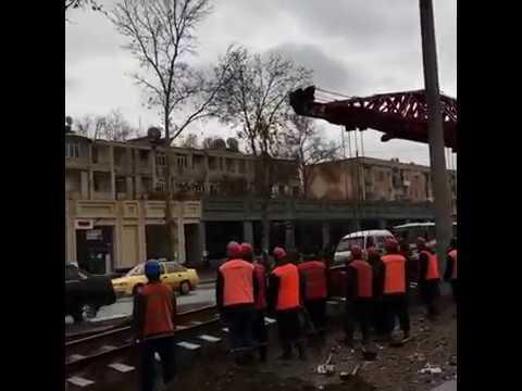 В Самарканде началась установка трамвайных путей