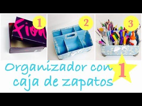 Como hacer un organizador facil con caja de zapatos - Manualidades con cajas de zapatos ...