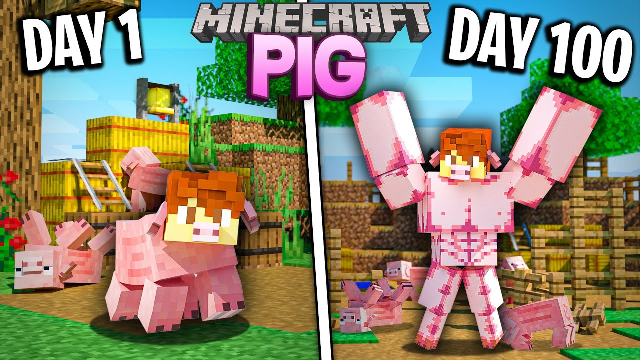I survived 100 Days as a PIG in Minecraft