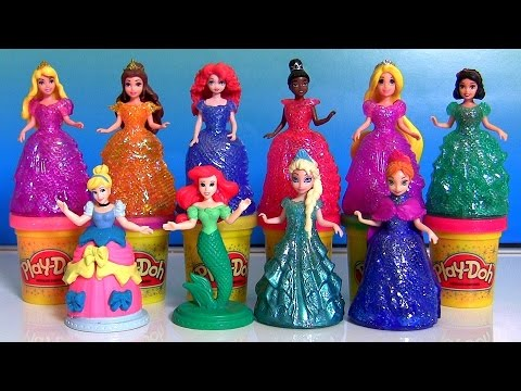 Play Doh Sparkle Royal Palace Disney Princess Glitter Glider Magiclip Dolls Anna Elsa Ariel Belle
