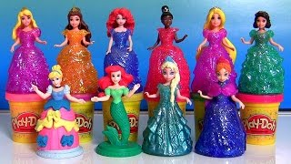 NEW Play Doh Sparkle Royal Palace - 10 Disney Princess Glitter Glider Magiclip Dolls Anna Elsa Ariel