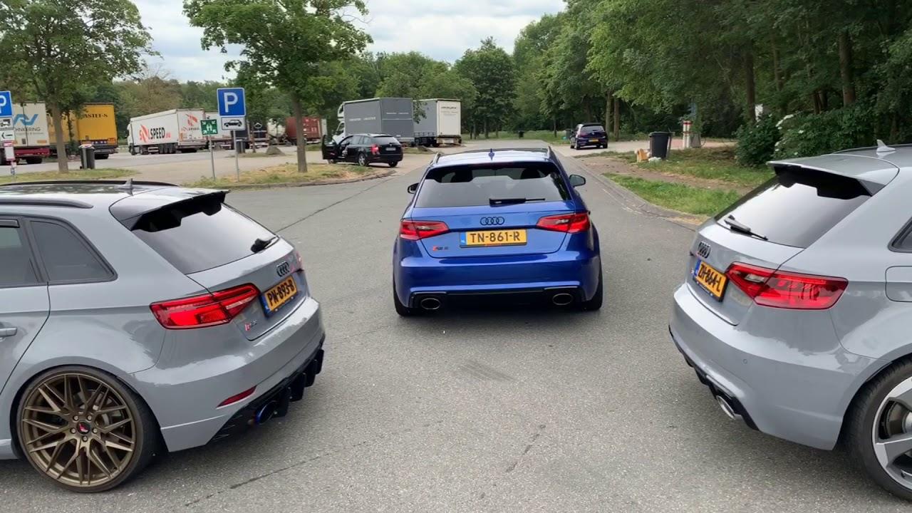3X AUDI RS3 ON THE GERMAN AUTOBAHN!
