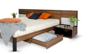 Rondo - Modern Platform Bed With Nightstands, Storage And Lights - Vgwcrondo