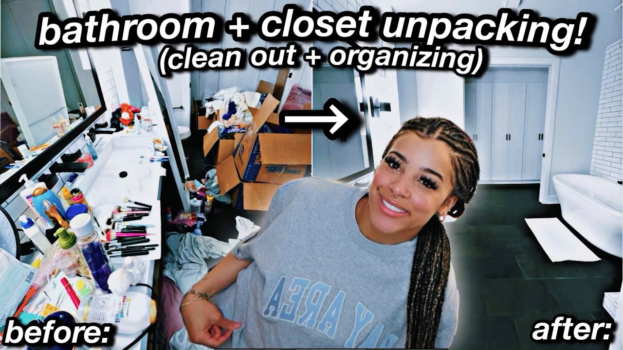 unpacking + organizing my *very messy* bathroom & closet! HUGE clean out | Azlia Williams