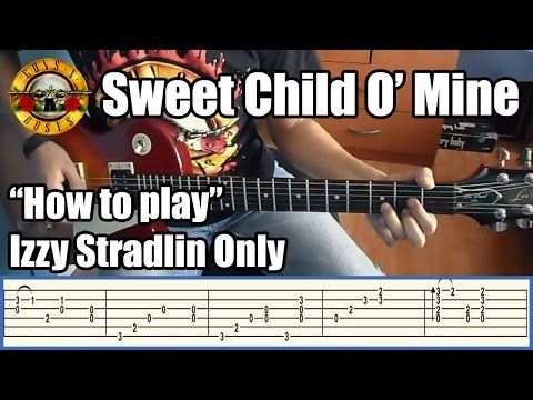 Guns N' Roses Sweet Child O' Mine IZZY STRADLIN ONLY with tabs | Rhythm guitar