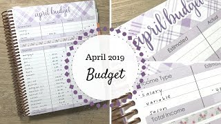 April 2019 Budget | Erin Condren Deluxe Monthly |