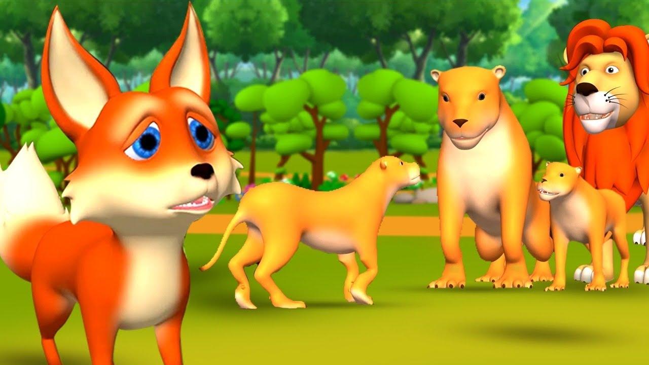 Download సింహం మరియు నక్క పిల్ల - Lion and Small Fox 3D Animated Telugu Moral Stories   JOJO TV Fairy Tales