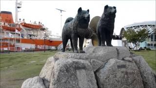 名古屋港南極観測船ふじ前、南極犬タロとジロ銅像の動画です。 タロ・ジ...