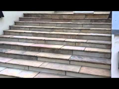 How To Clad Concrete Steps With Sandstone Paving