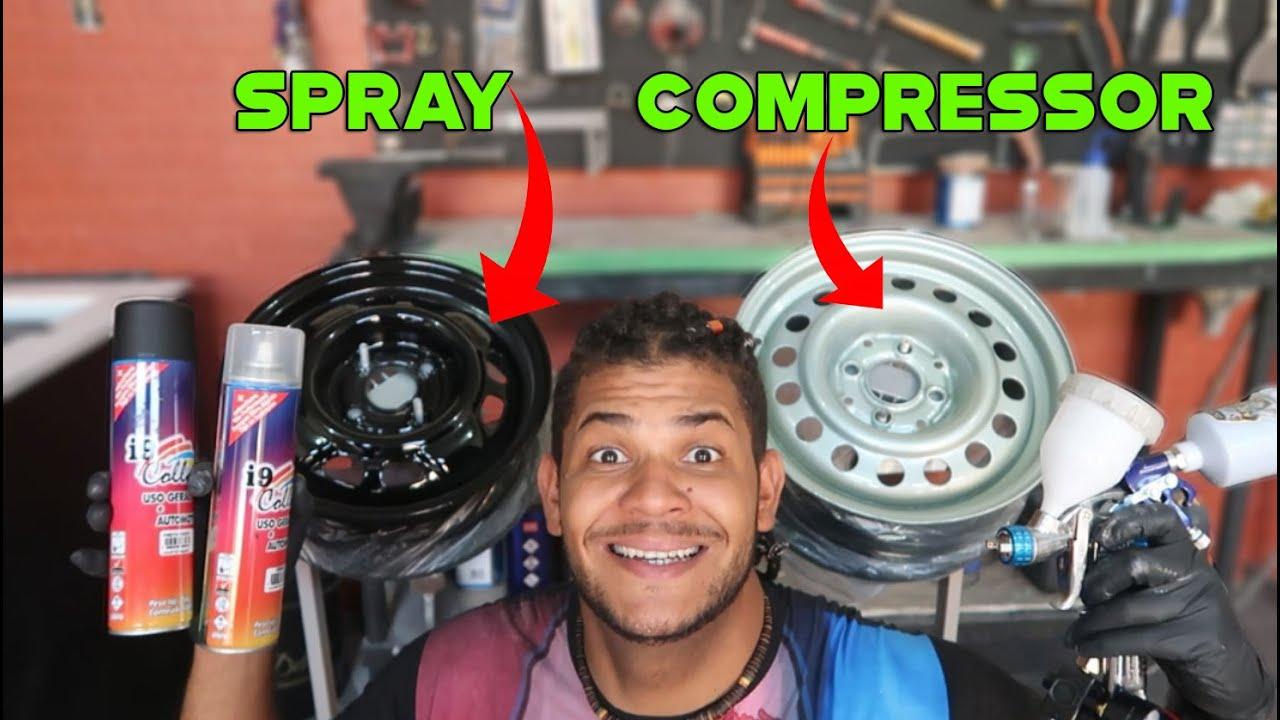 SPRAY VS COMPRESSOR PINTURA DE RODA ESPELHADA!!!