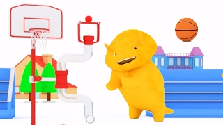 Repeat youtube video Learn colors playing Basket-ball with Dino the Dinosaur 🙋 Educational cartoon for children