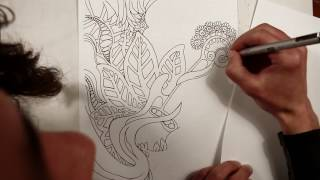 Speed Drawing - Guitar and Plants (Coloring Page)