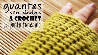 Repeat youtube video Guantes sin Dedos (Mitones) a Crochet - Punto Tunecino - Paso a Paso