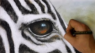 How to Draw a Zebra - Realistic zebra face